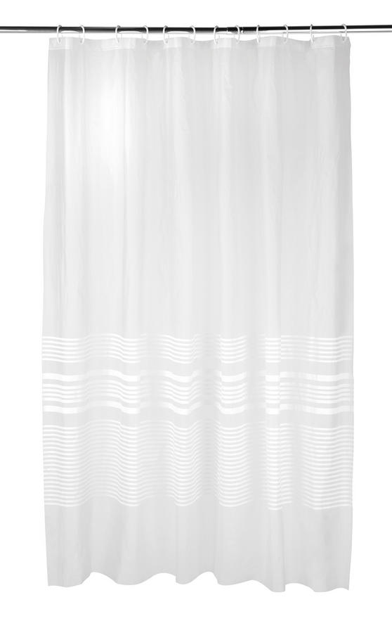 Beldray Linear Shower Curtain with Hooks, 180 x 180cm, PEVA, White