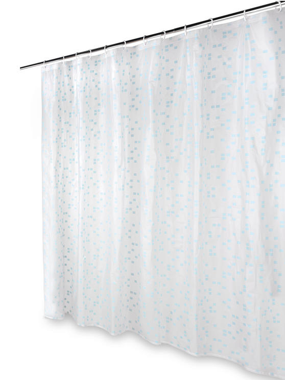Beldray Pixel Shower Curtain with Hooks, 180 x 180cm, PEVA, White Thumbnail 5