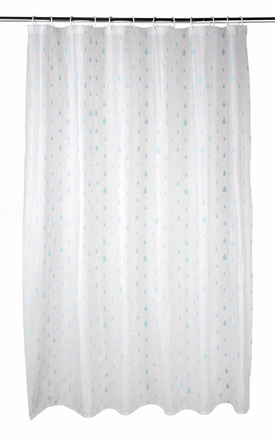 Beldray Raindrops Shower Curtain with Hooks, 180 x 180cm, PEVA, White/Aqua