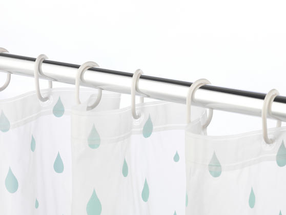 Beldray Raindrops Shower Curtain with Hooks, 180 x 180cm, PEVA, White/Aqua Thumbnail 4