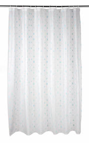 Beldray Raindrops Shower Curtain with Hooks, 180 x 180cm, PEVA, White/Aqua