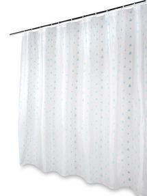 Beldray Raindrops Shower Curtain With Hooks 180 X 180cm PEVA White Aqua