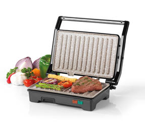 Salter Marble Collection 2 in 1 Ceramic Fold-Out Health Grill and Panini Maker, Grey Thumbnail 1
