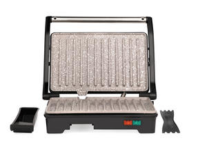 Salter Marble Collection 2 in 1 Ceramic Fold-Out Health Grill and Panini Maker, Grey Thumbnail 2