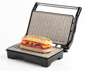 Salter Marble Collection 2 in 1 Ceramic Fold-Out Health Grill and Panini Maker, Grey Thumbnail 4
