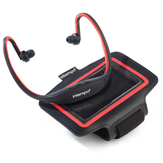 Intempo Bluetooth Wireless Sports Earphones Running Set, Black/Red