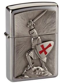 Zippo Crusade Victory Emblem Windproof Pocket Lighter, Brushed Chrome