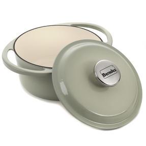 Berndes Round Casserole Dish with Lid, 20cm, 2.4 Litre, Cast Iron, Green