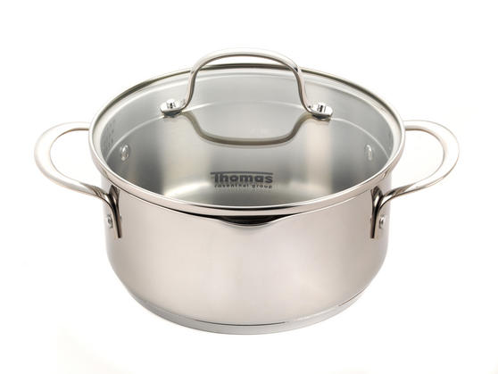 Thomas Rosenthal Cook & Pour Casserole Pot with Glass Lid, 20cm, 2.8 Litre, Stainless Steel