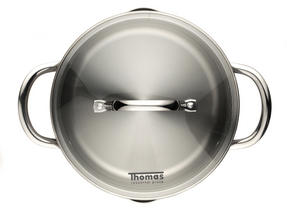 Thomas Rosenthal Cook & Pour Casserole Pot with Glass Lid, 20cm, 2.8 Litre, Stainless Steel Thumbnail 4