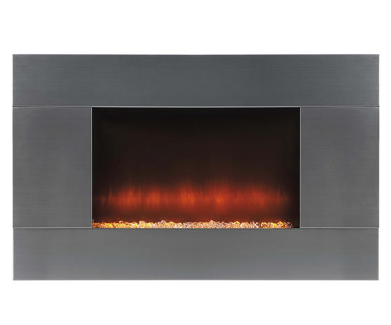 Beldray Pittsburgh Electric Wall Fire with LED Light Effect, 2000 W, Stainless Steel