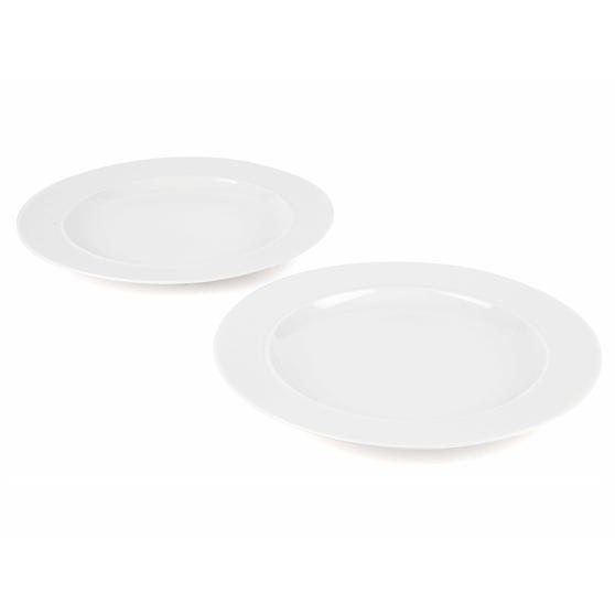Alessi 1110301 La Bella Tavola Porcelain Dinner Plates, 27 cm, Off-White, Set of 2