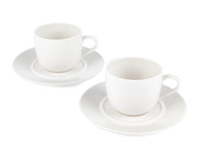 Alessi 110305 La Bella Tavola Porcelain Tea and Coffee Cups with Saucers, 180 ml, Off-White, Set of 2 | Dishwasher Safe | For Domestic & Commercial Use