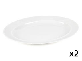 Alessi La Bella Tavola Porcelain Serving Platter, 36cm, Set of 2