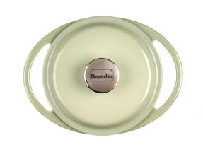 Berndes Round Casserole Dish with Lid, 20cm, 2.4 Litre, Cast Iron, Green Thumbnail 4