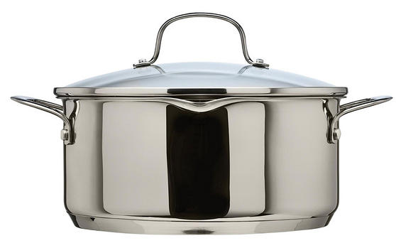 Thomas Rosenthal Cook & Pour Casserole Pot with Glass Lid, 24cm, 4.7 Litre, Stainless Steel