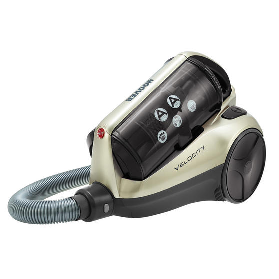Hoover RE71VE25001 Velocity Bagless Cylinder Vacuum Cleaner, 2.5 Litre, 700 W, Black and Champagne