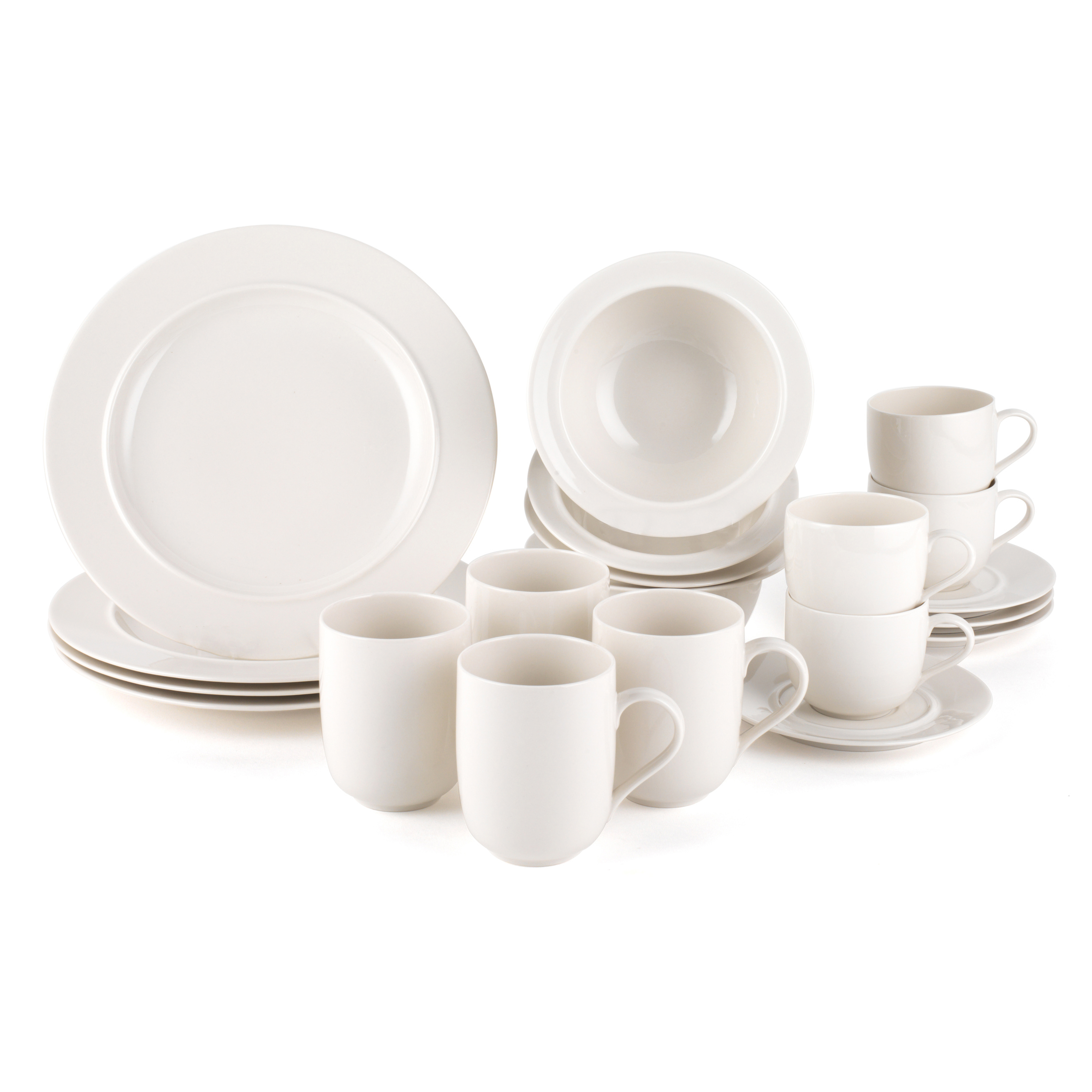 Alessi La Bella Tavola Porcelain Breakfast And Dinner Dining Set With Plates Bowls Tea Cupugs 4 Place Setting Off White Dishwasher Safe For