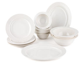 Alessi La Bella Tavola Porcelain 4-Place Setting Dining Set with 2 Serving Bowls & 2 Serving Platters