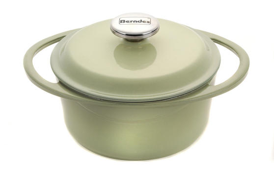 Berndes Round Casserole Dish with Lid, 20cm, 2.4 Litre, Cast Iron, Green