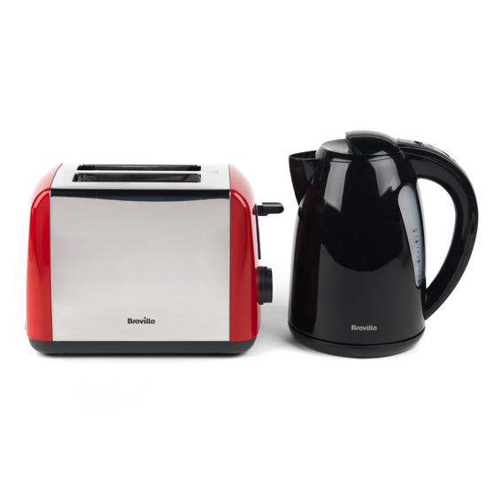 Breville Black 1.5 Litre Plastic Jug Kettle and Red 2 Slice Toaster Set