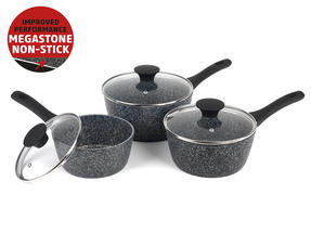 Salter Megastone Collection Non-Stick Forged Aluminium 3 Piece Saucepan Set, 16/18/20cm, Silver Thumbnail 2