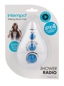 Intempo Teardrop Shower Radio, Dual Band AM/FM, Blue Thumbnail 5