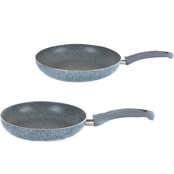 Russell Hobbs Stone Collection Set of 2 Frying Pans, 24/28cm, Daybreak