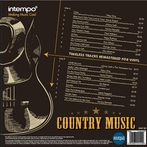 "Intempo EE2284 Country Music LP Vinyl Record, Remastered, 12"", Feat. Patsy Cline, Johnny Cash & More Thumbnail 2"