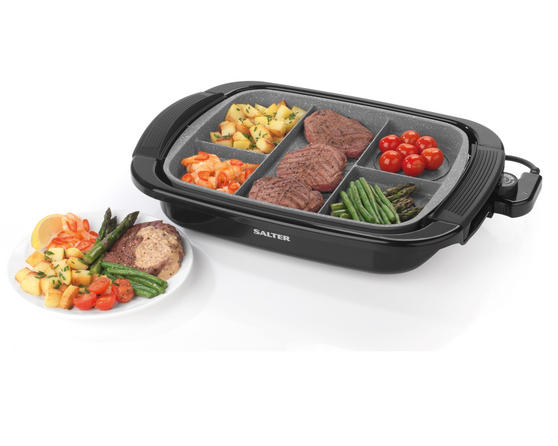 Salter Multi Portion 5 in 1 Grill with Marble Effect Non-Stick Coating, 1500 W