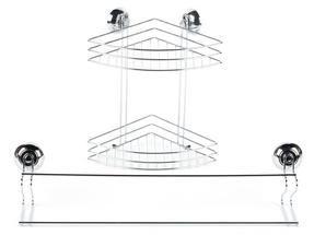 Beldray 2-Tier Corner Suction Shower Basket & Suction Towel Bar, Chrome, Silver