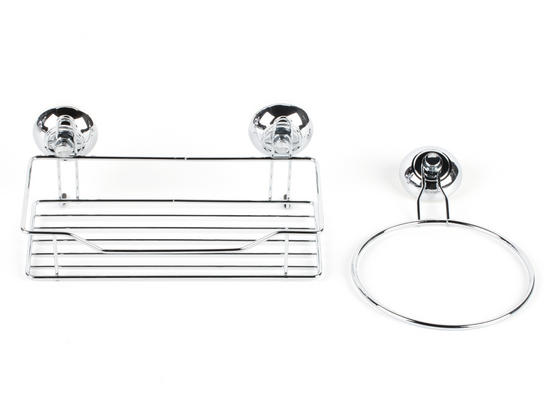 Beldray Suction Shower Basket & Suction Towel Ring, Chrome, Silver