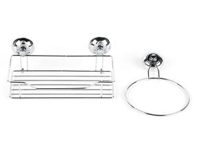 Beldray Suction Shower Basket & Suction Towel Ring, Chrome, Silver Thumbnail 1