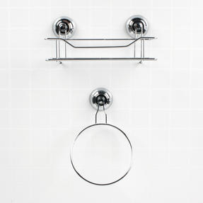 Beldray Suction Shower Basket & Suction Towel Ring, Chrome, Silver Thumbnail 2