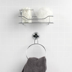 Beldray Suction Shower Basket & Suction Towel Ring, Chrome, Silver Thumbnail 3