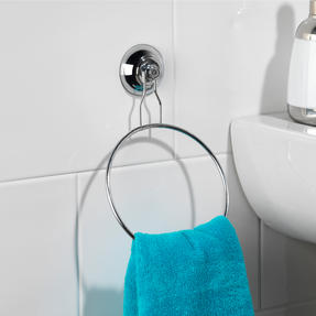 Beldray Suction Shower Basket & Suction Towel Ring, Chrome, Silver Thumbnail 5