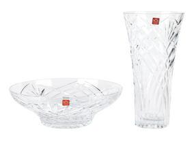 RCR Melodia Crystal Glass Centrepiece Bowl and Vase Set Thumbnail 1