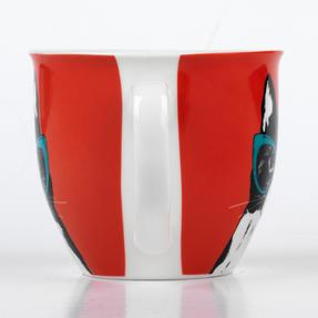 Cambridge CM05491 Oxford Cat In Glasses Fine Bone China Mug , Red Thumbnail 3