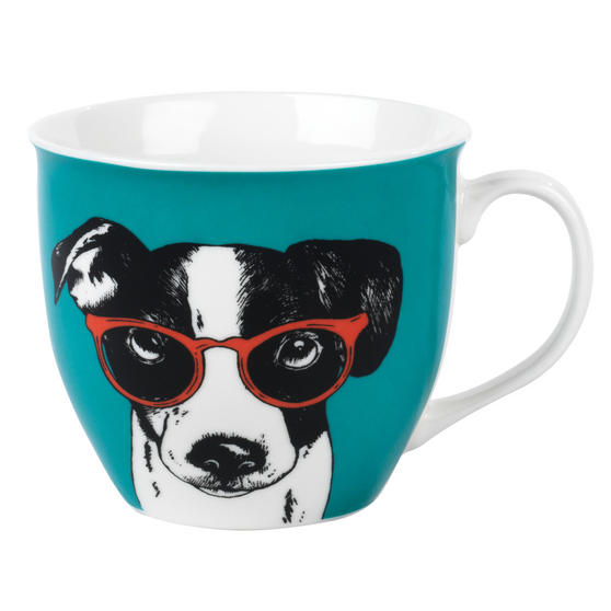 Cambridge CM05492 Oxford Dog In Glasses Fine Bone China Mug , Teal