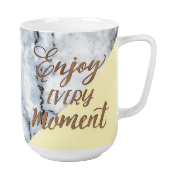 Portobello CM05713 Devon Marble Enjoy Every Momen New Bone China Mug, Yellow and Gold