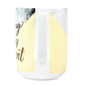Portobello CM05713 Devon Marble Enjoy Every Momen New Bone China Mug, Yellow and Gold Thumbnail 4