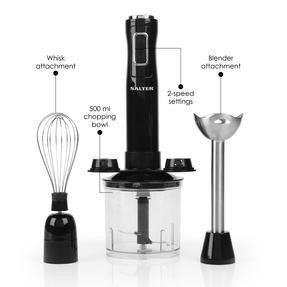 Salter 3 in 1 Handheld Blender Chopper Whisk Set, 400 W, Black Thumbnail 2
