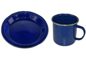 Boyz Toys Enamel Outdoor Camping Plate and Mug Set, Blue