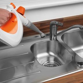 Beldray BEL0701 10 in 1 Garment Oven Upholstery Car Bathroom Tiles Mirror Window Handheld Steam Cleaner, 1000 W, Orange/White Thumbnail 4
