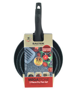 Salter Megastone Collection Non-Stick Forged Aluminium 3 Piece Frying Pan Set, 20, 24 & 28 cm, Silver Thumbnail 7