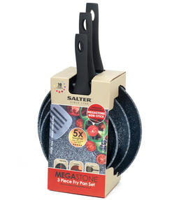 Salter Megastone Collection Non-Stick Forged Aluminium 3 Piece Frying Pan Set, 20, 24 & 28 cm, Silver Thumbnail 8