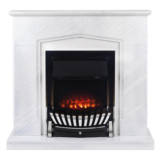Beldray Galway Electric Fire Suite with Coal Effect and Surround, 2000 W, White Thumbnail 1