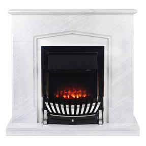 Beldray EH2706STK Galway Electric Fire Suite with Coal Effect and Surround, 2000 W, White