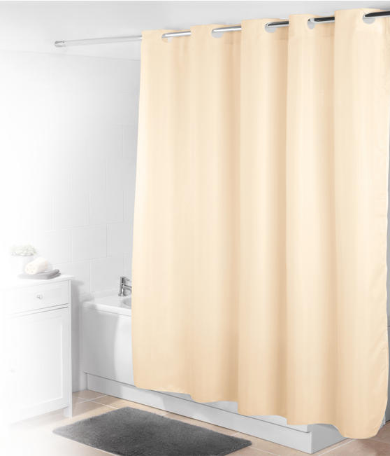 Beldray Jacquard Striped Hookless Shower Curtain, 180 x 185 cm, Cream Thumbnail 1