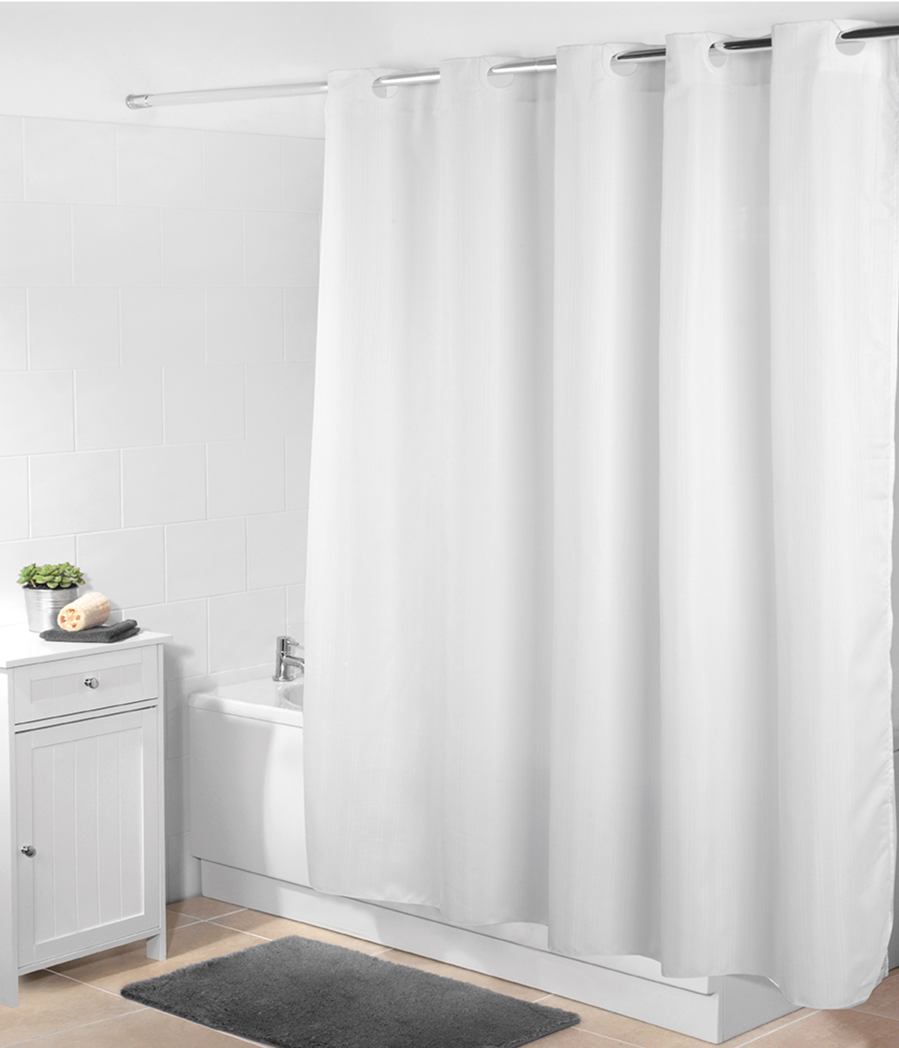 Beldray Jacquard Striped Hookless Shower Curtain 180 X 185 Cm White Thumbnail 1